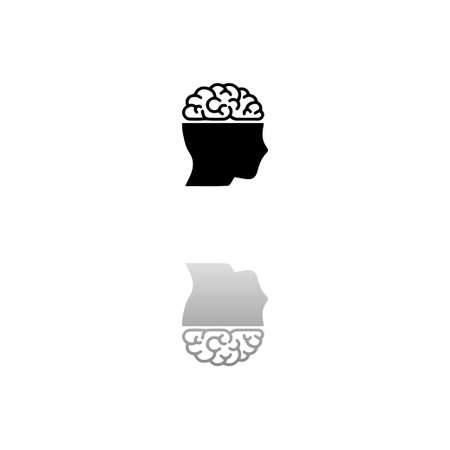 Human brain. Black symbol on white background. Simple illustration. Flat Vector Icon. Mirror Reflection Shadow.