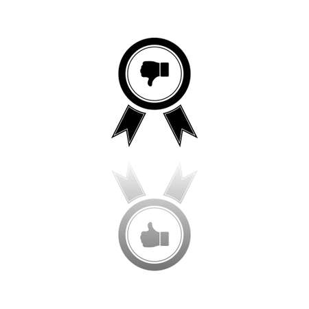 Not recommended award. Black symbol on white background. Simple illustration. Flat Vector Icon. Mirror Reflection Shadow.