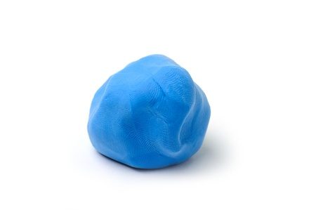 An image of a piece of blue plasticine on white background