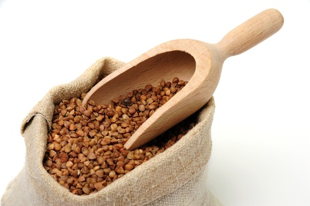 An image of raw buckwheat in a sack