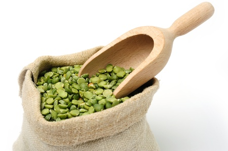 An image of dried green peas in a bag