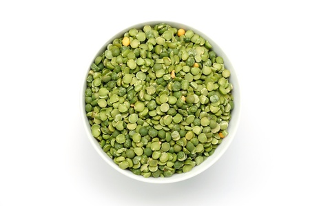 An image of green dried peas in a bowl photo