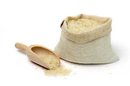 rice crop: An image of raw rice in a burlap bag