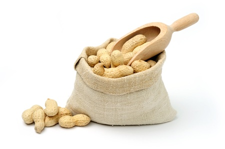 food allergy: An image of peanuts in a textile bag
