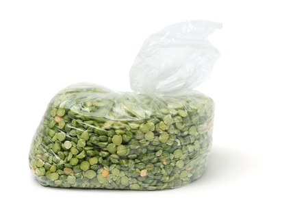 An image of green peas in a transparent bag