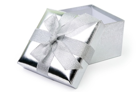 An image of open silver gift box on white background
