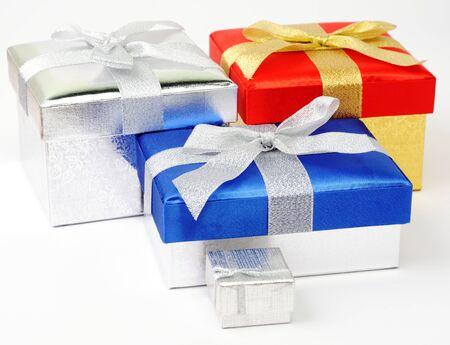 Set of gift boxes on white background Stock Photo