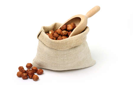 An image of cobnuts in a burlap bag