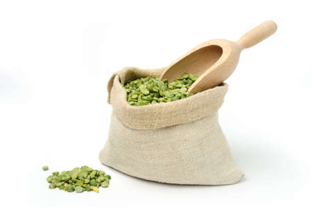 An image of dried green peas in a bag photo