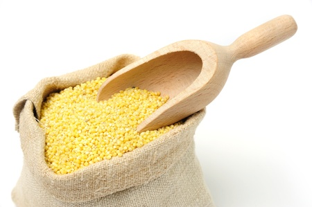 An image of raw millets in a bag Stock Photo