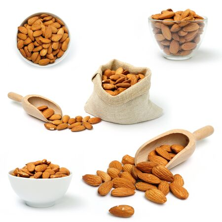 A set of images of dried almonds in a bowl and in bag Stock Photo