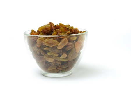raisins: An image of dry raisins in a transparent bowl