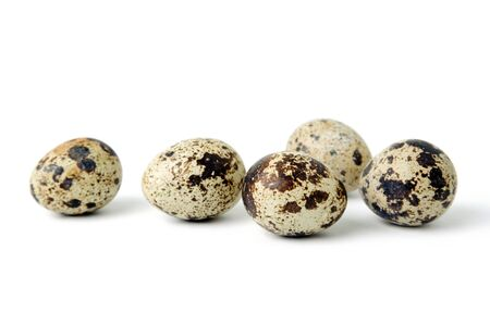 An image of small spotted quail eggs  Stock Photo