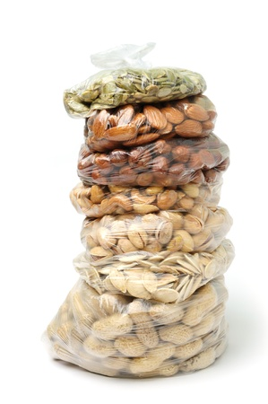 An image of a pile of bags with nuts and seeds
