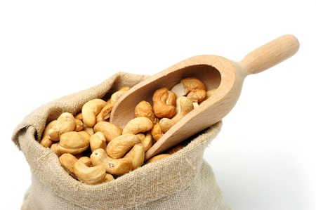 An image of delicious cashew in a textile sack