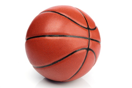 An orange basketball ball on white background Stock Photo