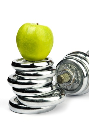 An image of dumbbells and an apple
