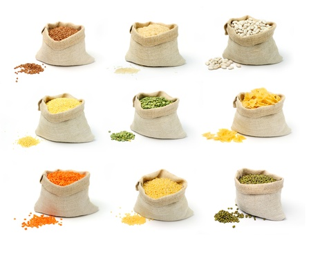 A set of groats in sacks on white background Stock Photo