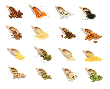 raisins: An image of a set of groats and nuts in scoops Stock Photo