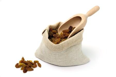 An image of raw brown raisins in a bag