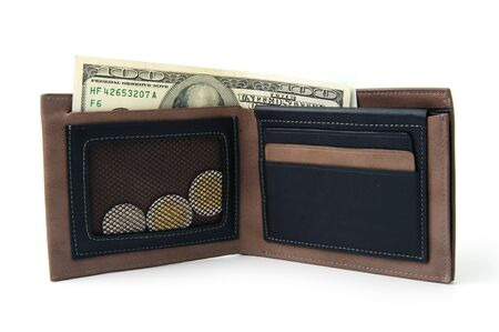 leather wallet with money in it on white background Stock Photo - 13610054