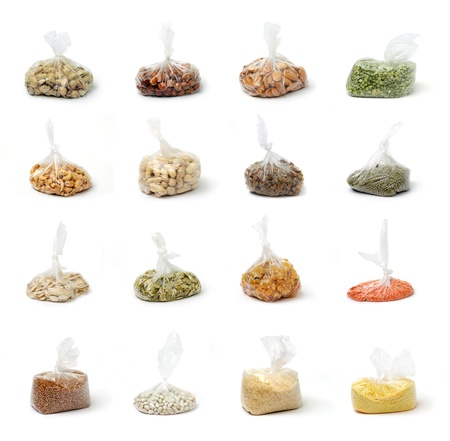 An image of a set of groats and nuts in clear bags
