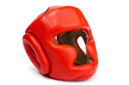 boxing equipment: An image of a red helmet for boxing Stock Photo