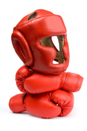 boxing equipment: An image of red gloves and helmet for boxing