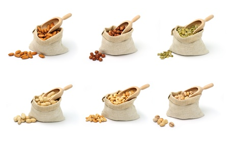 An image of a set of nuts in sacks Stock Photo