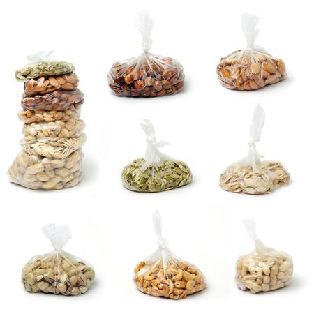 cellophane: An image of a set of nuts in cellophane bags