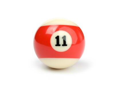 eleven: An image of a ball for billiard on white background