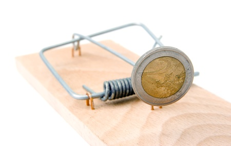 Mouse trap with Euro coin on white background Stock Photo - 14478318