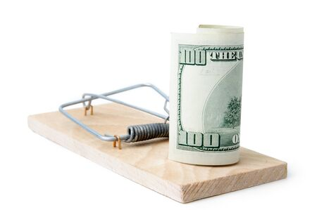 Mousetrap with 100 dollars on white background