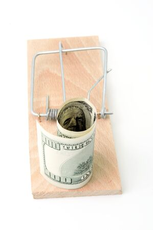 Mousetrap with 100 dollars on white background Stock Photo - 14478331