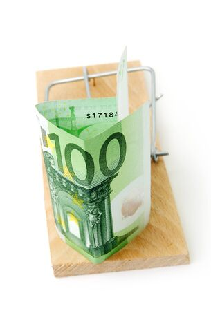 Mousetrap with 100 euros on white background Stock Photo - 14478332