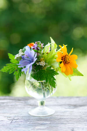 An image of a little bouquet in a glass Stock Photo