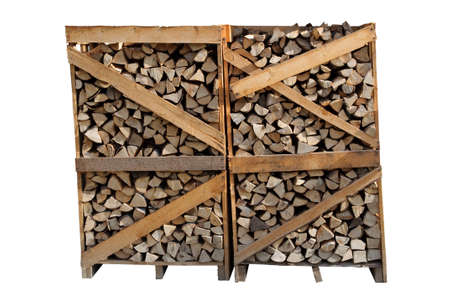 An image of firewood in a big stack isolated