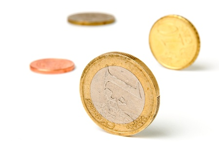An image of coins on white background Stock Photo - 17017444