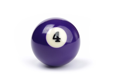 billiard ball number 4 on a white background Stock Photo