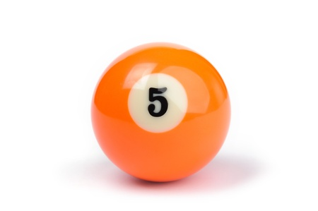 billiard ball number 5 on a white background Stock Photo