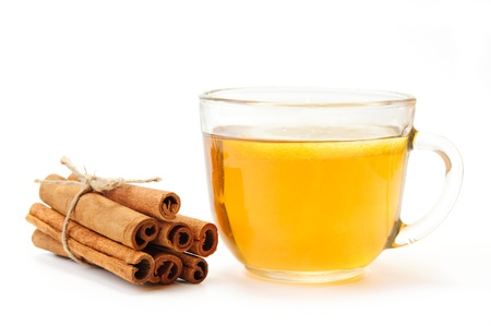 An image of a cup of tea and cinnamon Stock Photo