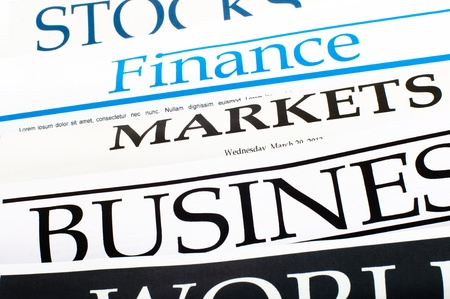 stock news: An image of titles of newspapers about the business Stock Photo