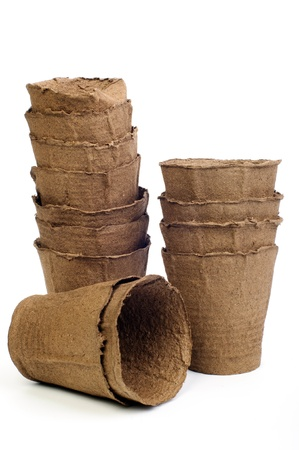An image of peaty pots on white background Stock Photo