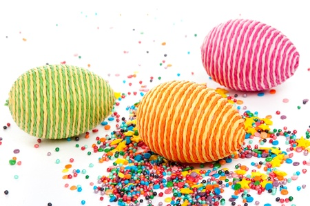 Striped easter eggs on white background Stock Photo