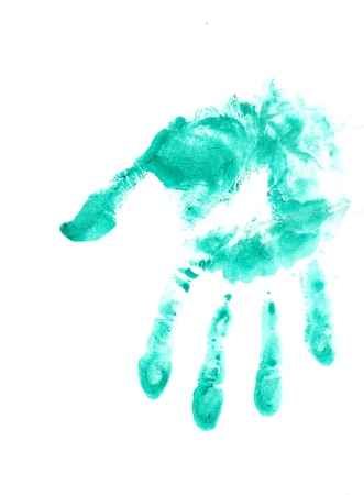 An image of green hand print on white Stock Photo