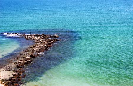 breakwater: Stony breakwater on the Black sea Stock Photo