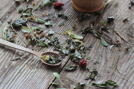 medicinal plants: Spoon of herbsl tea made from various medicinal plants, selective focus