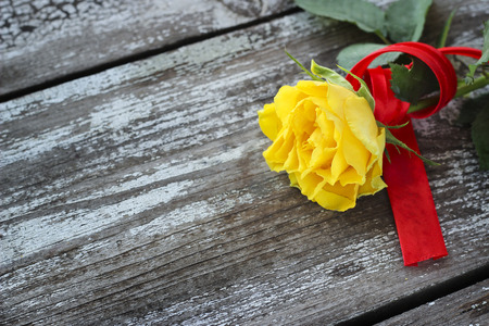 green day: Yellow rose with red ribbon on a wooden background Stock Photo