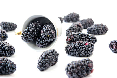 Group of ripe blackberry on a white background, selective focus