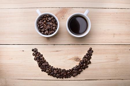coffee cups: Coffee. Cups with coffee. Coffee beans . Concept Stock Photo